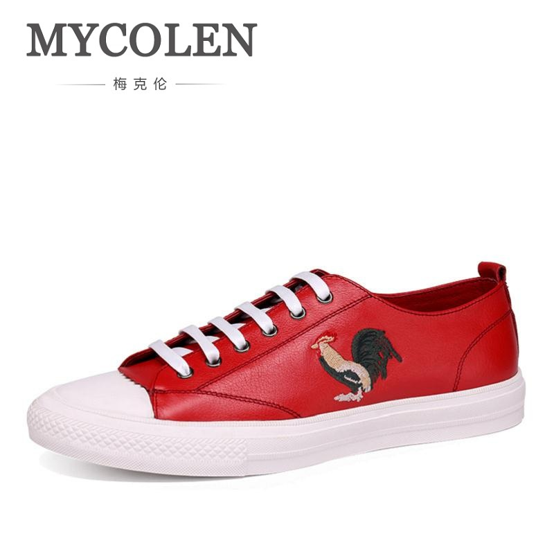 MYCOLEN Mens Shoes Breathable Lace-Up Shoes Men Black/Red Embroidery Mens Trainers Rubber Leather Leisure Shoes Zapatillas autumn leather mens outdoor men canvas shoes mens casual shoes lace up mens men trainers zapatillas zapatos hombre