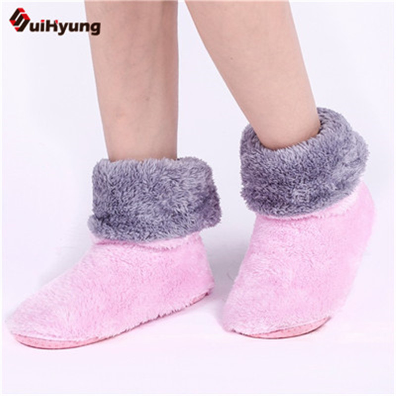 Suihyung Winter Warm Women Men Indoor Shoes Plush Soft Sole Home Slippers Non-slip Floor Slippers Female At Home Bedroom Shoes home slippers soft plush cotton cute slippers shoes non slip floor indoor house home fur slippers women shoes for bedroom