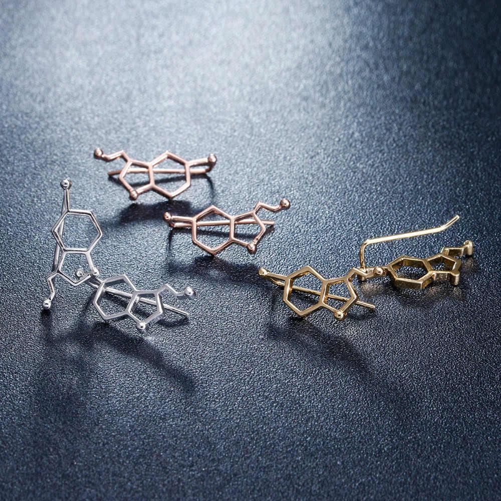 Yiustar Nuovo Modo Serotonina Molecola Orecchio Scalatori per Le Donne Serotonina Molecola Struttura dell'orecchio crawler Regalo per le Ragazze ED153