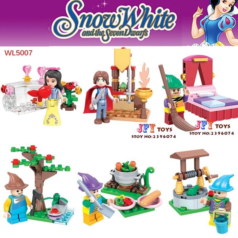 6pcs star wars super heroes marvel Snow White Princess Friends building blocks model bricks toys for children juguetes