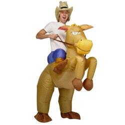 Disfraces de caballo inflables de 4 colores para adultos, juguetes para Cosplay, disfraces de animales, Disfraces de Halloween, traje de fiesta de carnaval, volar