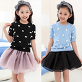 New summer autumn 2017 girls fashion manual bow knitted T-shirt children high quality sweater kids mother family clothing 145