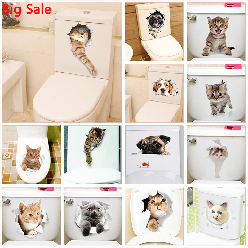 Vivid 3d Hole Cat Dog Animal Toilet Stickers Home Decoration Diy Wc Washroom Pvc Posters Kitten Puppy Cartoon Wall Art Decals(China)