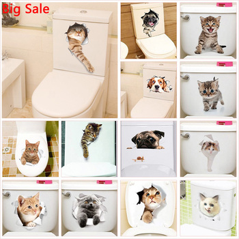 Vivid 3d Hole Cat Dog Animal Toilet Stickers Home Decoration Diy Wc Washroom Pvc Posters Kitten Puppy Cartoon Wall Art Decals 3d effect disney cars lightning mcqueen window wall stickers bedroom home decor cartoon wall decals pvc mural art diy posters