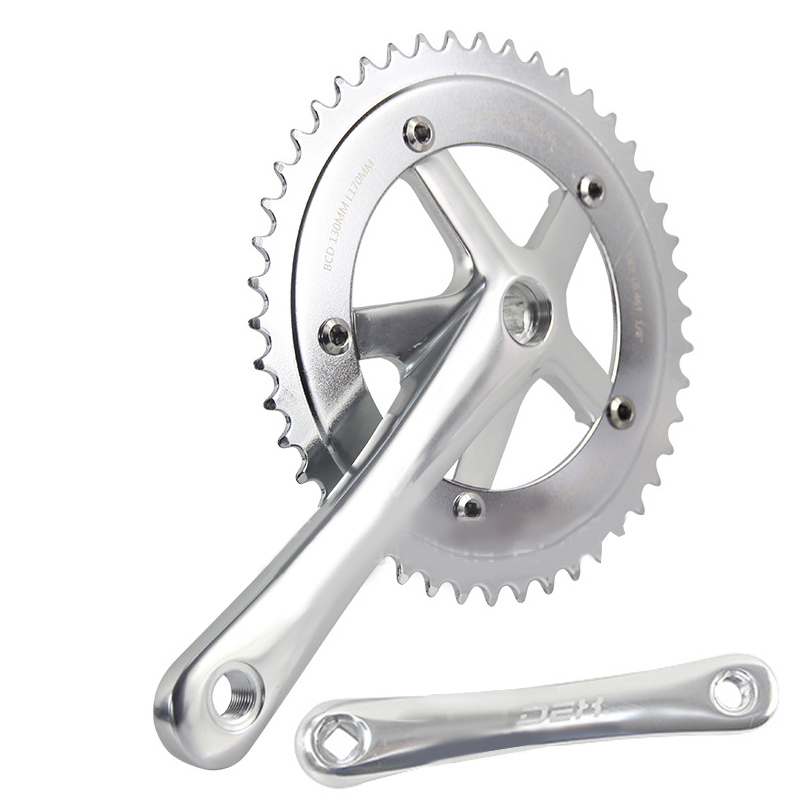 Fixed Gear Bicycle Bike Racing Chain Wheel 46T Crank Crankset Single Speed Cycling Crankset Cranks Aluminum Alloy Accessories road bicycle crankset 7 8 9speed folding bike crank chain wheel 34t 50t cnc aluminum alloy gear tooth disc with bottom bracket