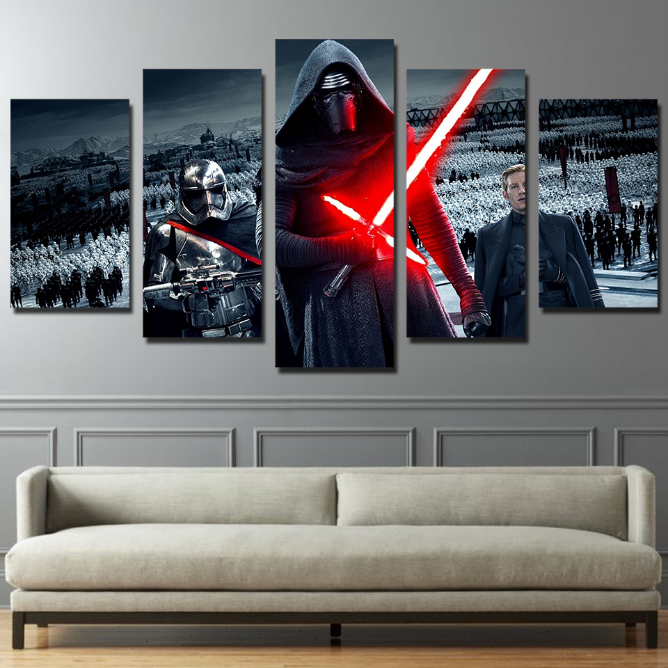 HD Printed 5 Piece Canvas Art Movie Star Wars Painting Posters Artwork  Living Room Decor Panel Framed Free Shipping CU 1299 Part 84