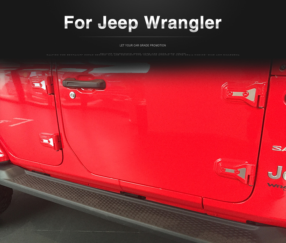 XBEEK Car Stickers for Jeep Wrangler JL 2018 Up Car Accessories Door Hinge Cover Trim Engine Hood Hinge Sticker