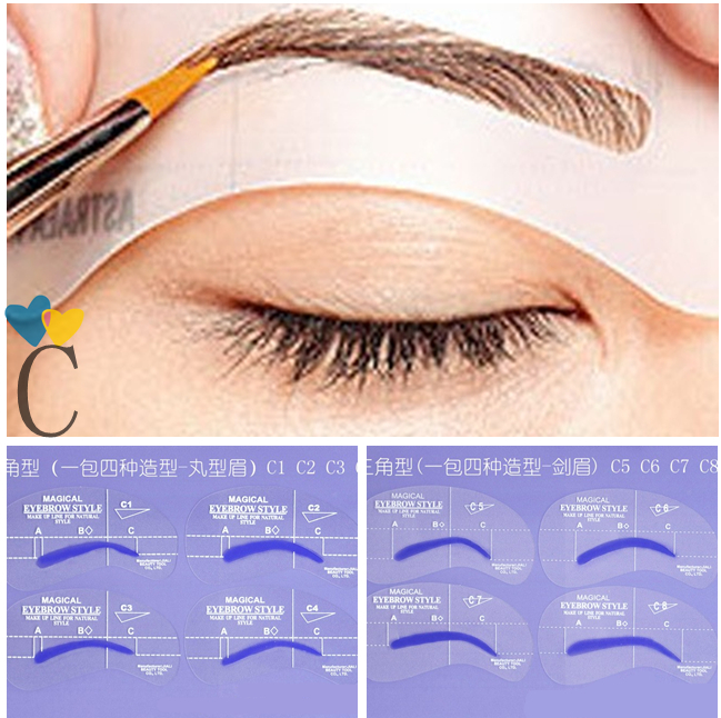 8pcs C Styles Brow Painted Eyebrow Pencil Stencils Model Template Stencil for Eye Eyebrow Free Shipping