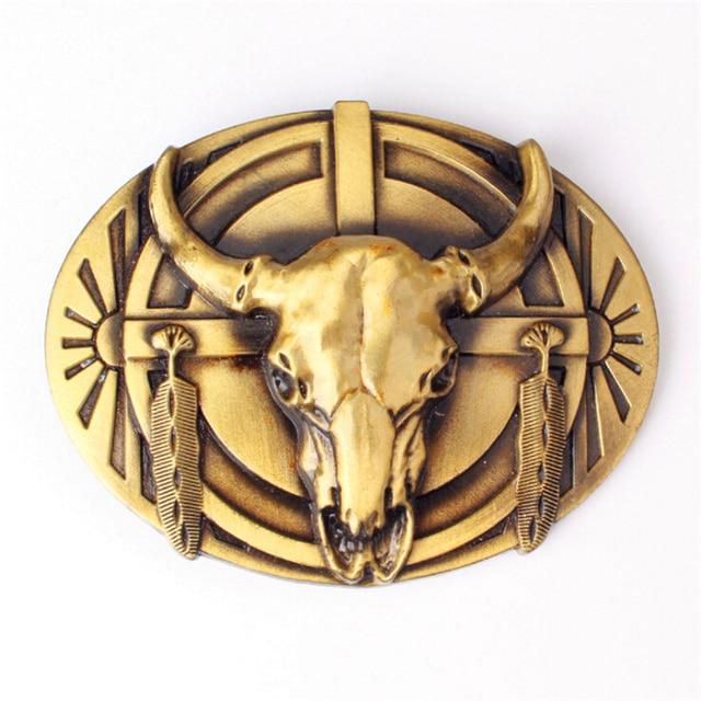 1afa197ad697 Custom made ceinture boucle Western cowboy style ceinture boucle tête Yak  vache crâne tête en métal
