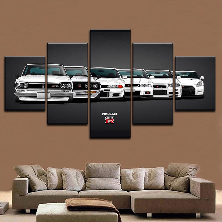 Canvas Painting HD Print Modular Artwork Modern 5 Pieces Nissa Skyline Gtr Car Pictures Home Decorative Wall Art Unique Poster