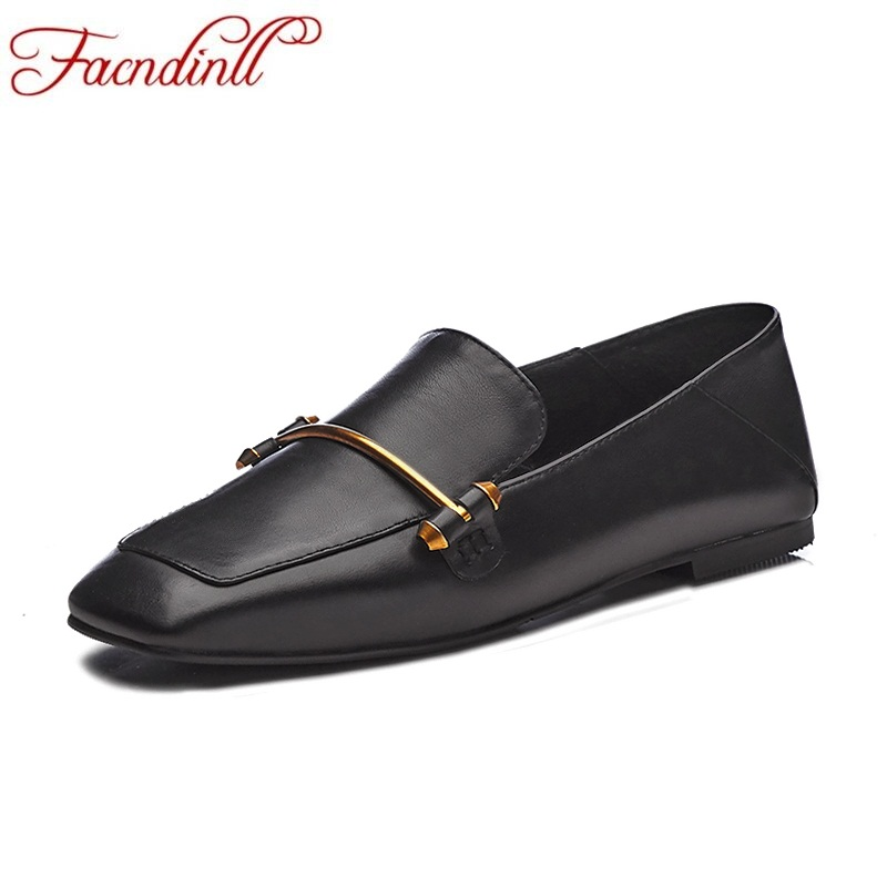 FACNDINLL fashion classics 2018 spring autumn genuine leather women shoes square flat heel shoes woman casual date ladies shoes ladies shoes 2018 spring british style multicolor leather shoes square head slope thick soles shoes fashion fit flat shoes