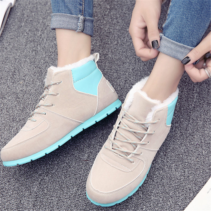 Women sneakers fashion Winter Leisure Snow shoes velvet Woman Suede casual Flat shoes Keep warm tenis feminino zapatos mujer vesonal brand faux fur women shoes flats 2017 winter warm velvet female fashion ladies woman sneakers casual footwear tsj 189