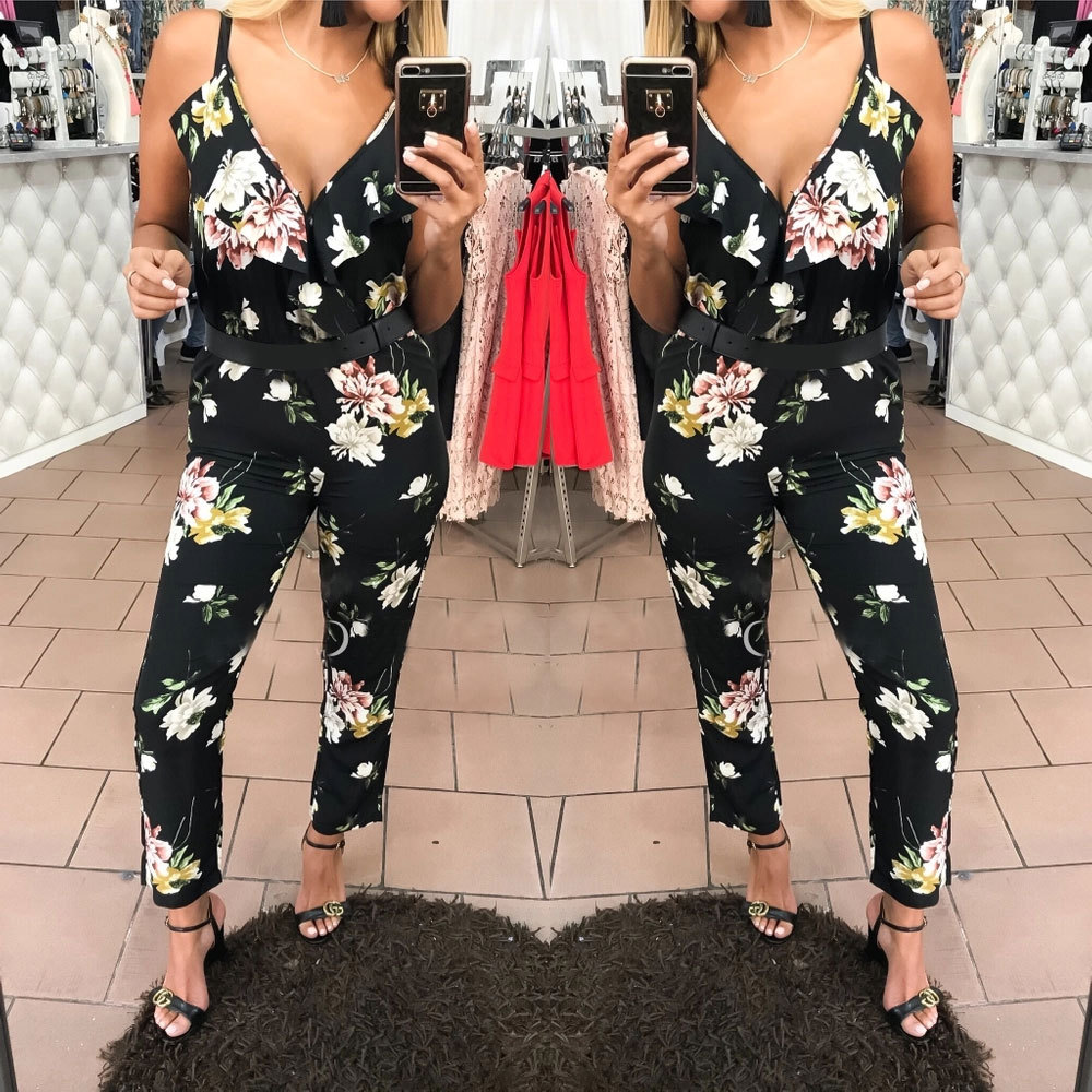 BKLD Sexy V-neck Women Rompers Bohemian Floral Print Spaghetti Strap Rompers Jumpsuits Summer Elegant Women Beach Playsuits 2018