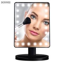 Led 터치 스크린 메이크업 거울 24 led 조명 전문 화장 대 거울 건강 아름다움 조정 가능한 led 미러 180 회전