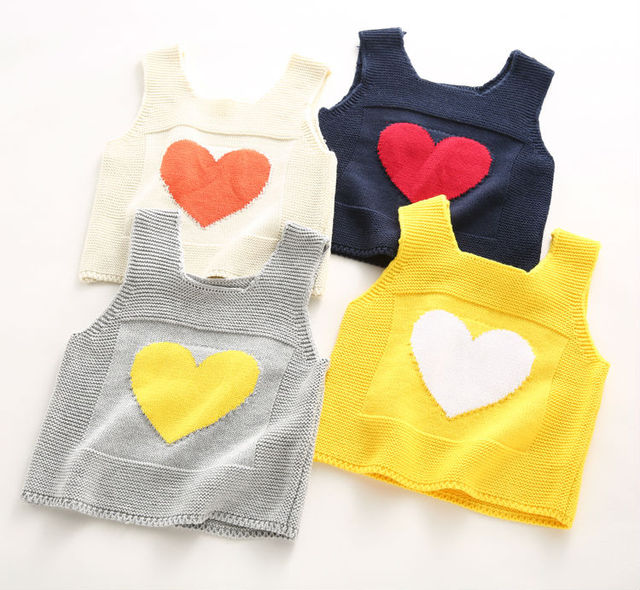 Children's Vest for girls Winter Sweater Vest Kids Waistcoat Cartoon LOVE infantil menina kids Cotton Beige Knitted Vest 2016