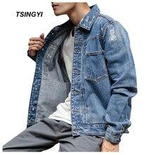 Tsingyi Do old Style Distressed White Washed Mens Denim Jacket Streetwear Turn-down Collar Long Sleeve Men Bomber Jeans Jacket