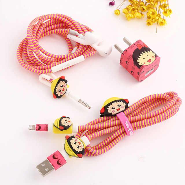 Nuevo lindo Cable USB con dibujos animados conjunto Protector de auriculares con Cable enrollador con pegatinas de Cable en espiral Protector para iphone 5 6 6s 7plus