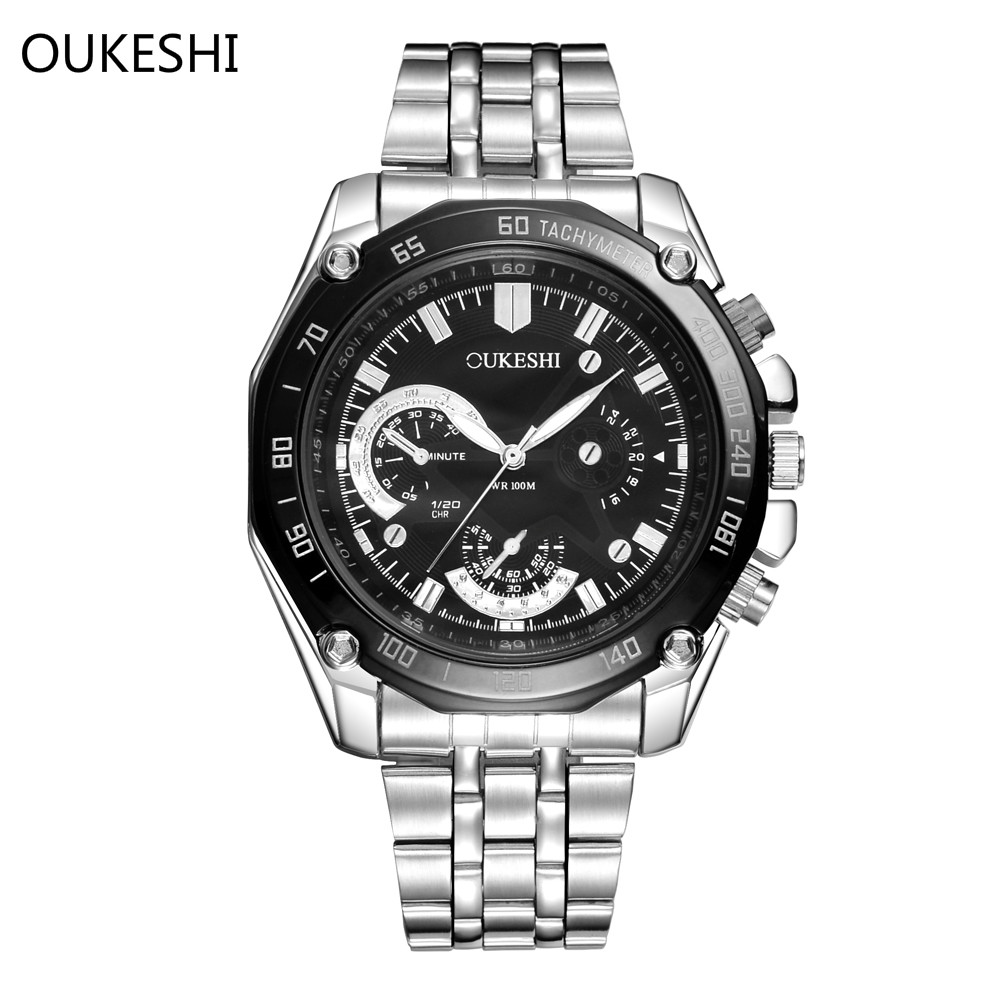 Brand Luxury OUKESHI Stainless Steel Quartz Men Watch Military Wristwatch Fashion Waterproof Business Watches Relogio masculino