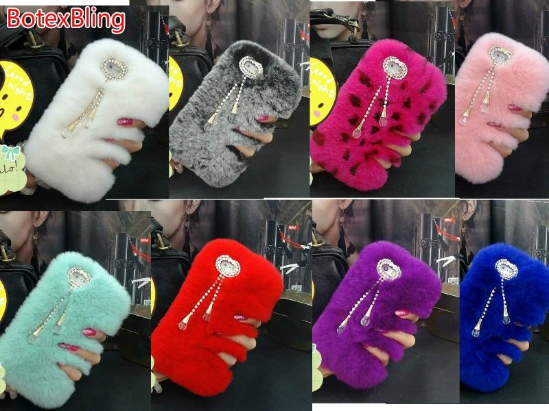 BotexBling Rhinestone Tassel DIY Rabbit Fur Case For iPhone 8 7 7plus 6s 6Plus 5s SE 8Plu fashion warm fluffy Hair plush cover 4