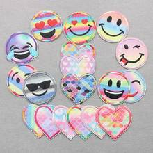 New arrival 10 pcs Sparkle Candy Face Heart Embroidered patches iron on  popular clothing bag hat shoe Motif Applique diy decor a738344a7d37