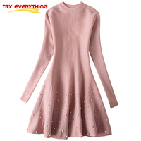 Try Everything Pink Beading Sweater Dress Woman Elegant Bodycon Dress 2017 Autumn Winter Above Knee Sweet