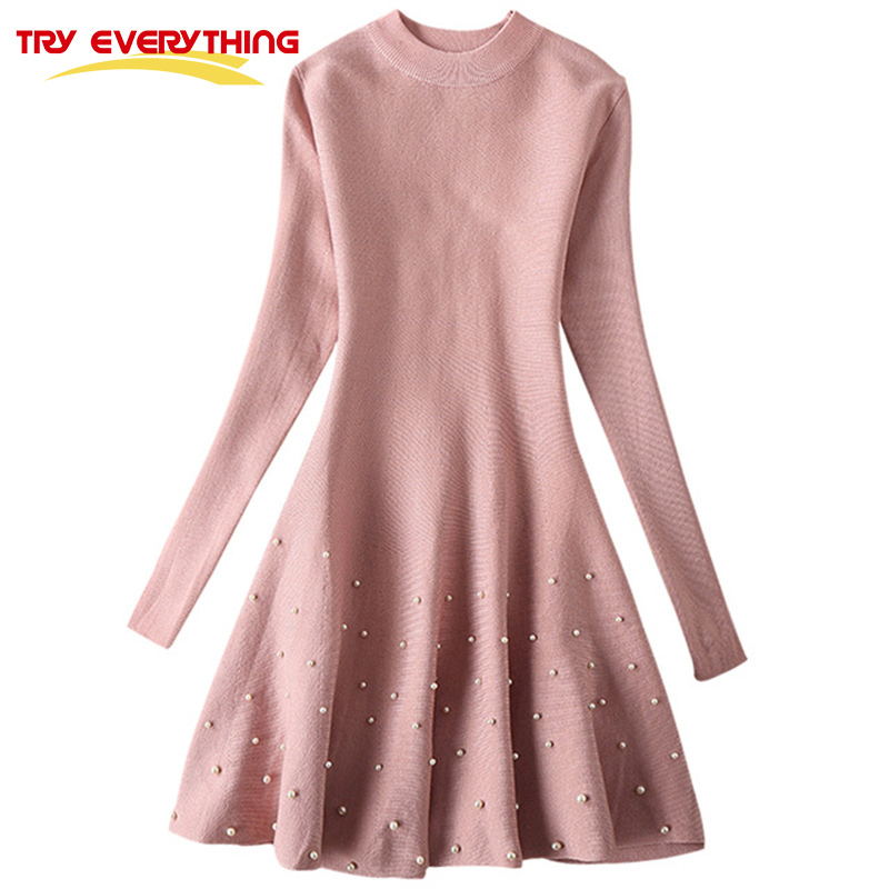 Try Everything Pink Beading Sweater Dress Woman Elegant Bodycon Dress 2017 Autumn Winter Above Knee Sweet Korea Dress Ropa Mujer ...