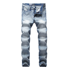 New arrival Man brand mens distressed jeans slim Fit ripped high quality skinny jean denim biker jeans blue color mens jeans men