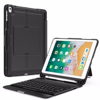 Keyboard Case for Apple iPad 9.7 In 2018/iPad Pro 9.7/iPad Air,Detachable Wireless Keyboard Stand Cover with Apple Pencil Holder