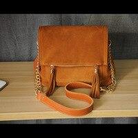 Brown Messenger Bag Suede Bag Handbag Retro Women Bags Leather Women Shoulder Vintage Genuine Leather Bag Bohemia Style