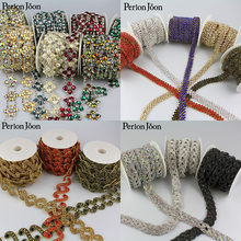 5 Yard A variety of styles color Symphony crystal motif AB rhinestones trim metal chain Ribbon for dress, bag, shoes accessories(China)