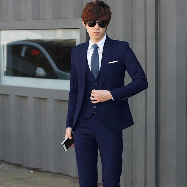 Três-piece vestido ternos Brazer + Colete + calça terno do casamento para homens de estilo Coreano magro negócios traje cavalheiro homens homme terno M-3XL