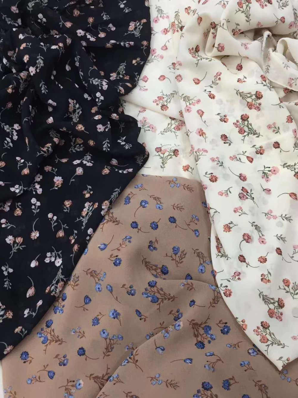 150cm width chiffon fabric small flowers  pattern can see through for skirt suit-dress headband CH-1122 10m