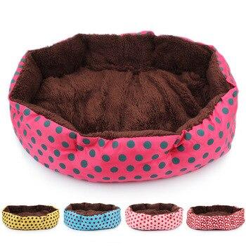 RFWCAK Hot Winter Warm Dog Bed Soft Fleece Dot Design Pet Nest With Removable Pet Mat Octagon Shape Kennel Cat Free Shopping 1