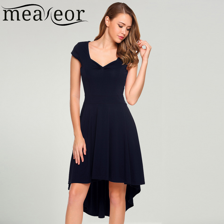 Meaneor Women V-Neck Cap Short Sleeve Asymmetric Dovetail Hem Dress Casual Summer Pullover Solid High Waist Party Femme Robe