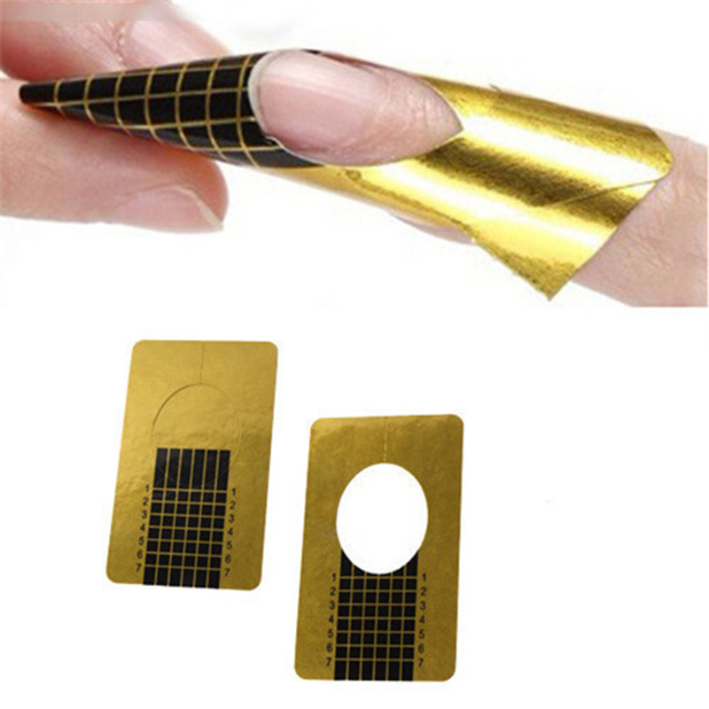 Gold Nail Guide Sticker Tape Sculpting Extension Nails Forms Guide Stickers Adhesive Acrylic UV Gel Tips 500Pcs