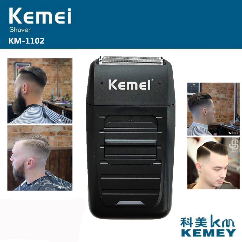 Kemei KM-1102 Recarregável Sem Fio Shaver para Homens Gêmeo Lâmina Alternativo Navalha Barba Aparador de Cuidados Com o Rosto Multifunction Forte