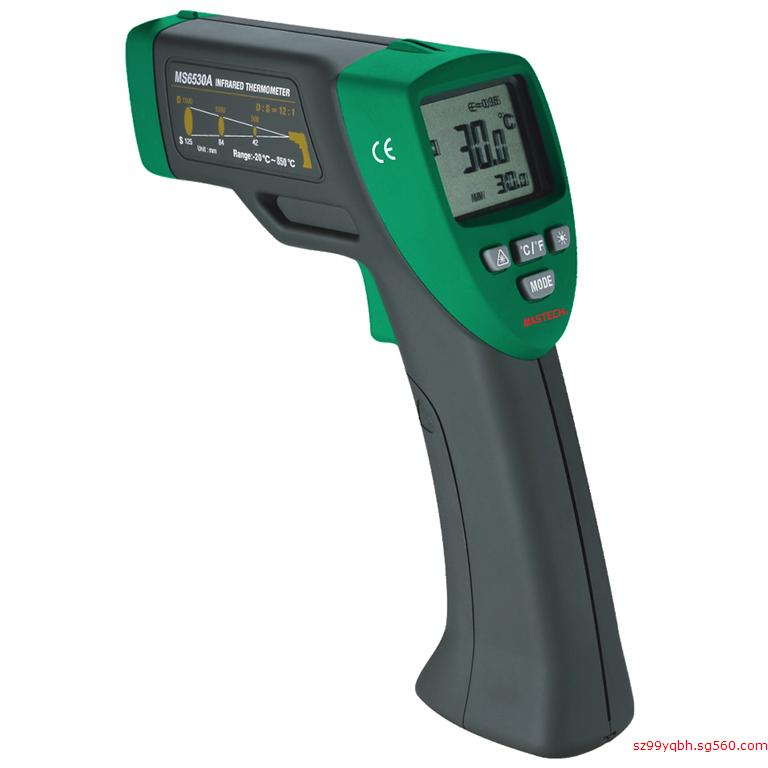 MASTECH MS6530A Non-contact Infrared Thermometer IR Temperature Gun with Laser Pointer Tester -20C~850C D:S(12:1) mastech ms6530a d s 12 1 non contact infrared thermometer ir temperature gun with laser pointer tester 20c 850c
