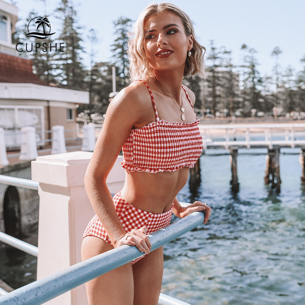 CUPSHE Sexy Red Gingham Smocked Bandeau Bikini Sets Women Cute High Waist Two Pieces Swimsuits 2020 Girl Beach Bathing Suits