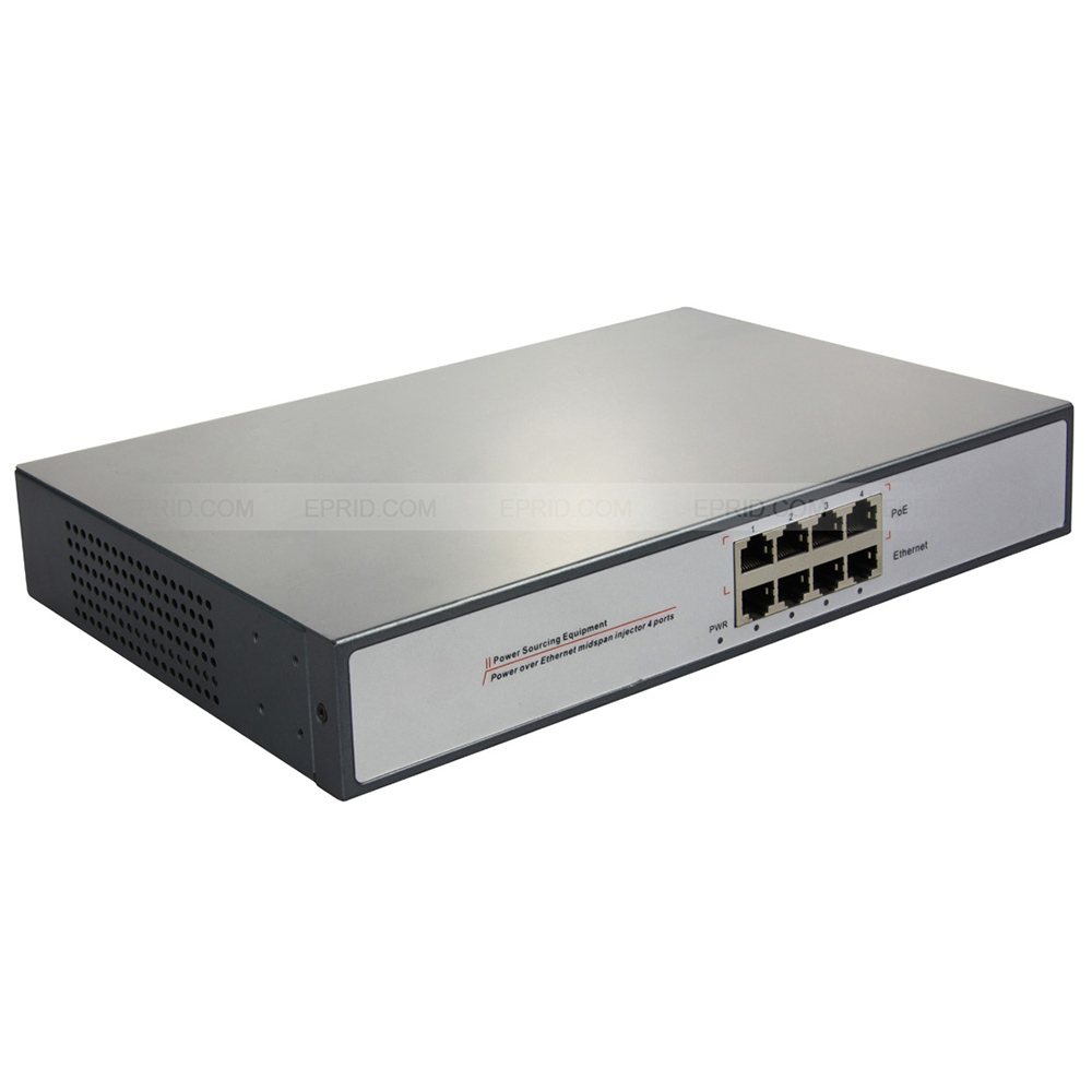4 Port POE Injector Power Over Ethernet Passive Adapter 802.3at for IP Camera