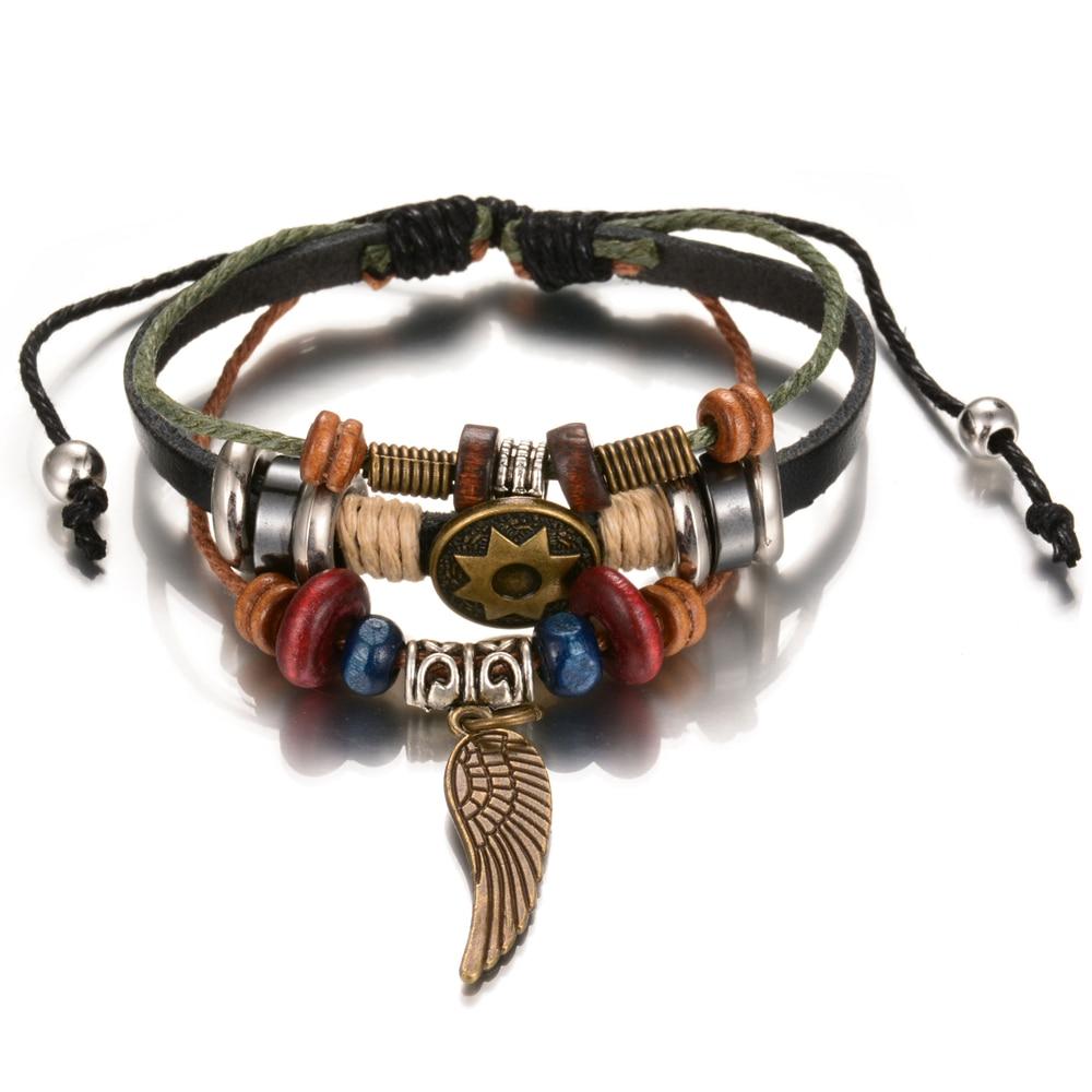Valentine' Day Gift Charm Handmade Adjustable Leather Bracelets Vintage  Wing Feather Wristband Bracelet