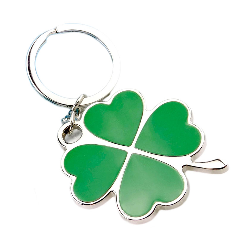 2017 New Fashion Jewelry Charm Holiday Gift lucky Green Four Leaf Clover Pendant Key Chain for Women bag charm man car key ring