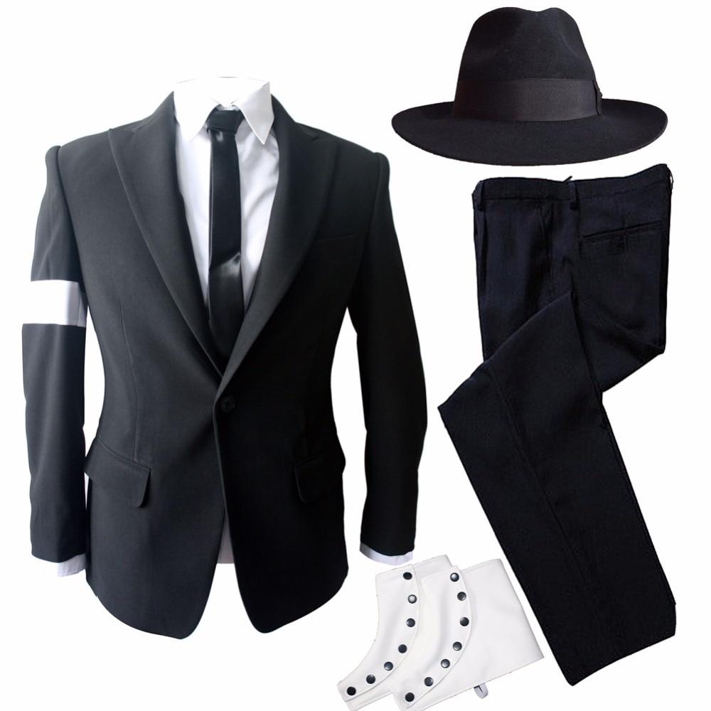 Rare MJ Michael Jackson Preto Perigoso Bad Suit Blazers Magros Outerwear Conjunto Completo Para Os Fãs Presente