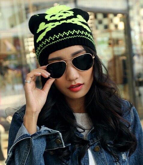 Мода личности черепа высокое качество шерстяная шапочка комфортно дышащая мягкая улица коллокации шляпа 12 цвета 1 шт. новый