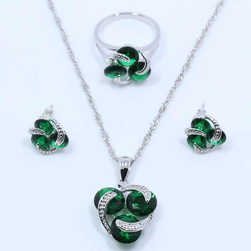 Eye-Catching 925 Silver Jewelry Set Green Zircon Ring Size 6/7/8/9/10 For Women Free Gift T06
