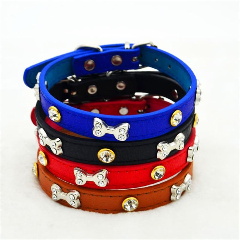 Lindo collar de perro de cuero de la pu Diomand y accesorios de hueso - Productos animales