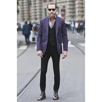 Latest Designs Purple Men Suit Custom Fashion Suits Sets Elegant Party Tuxedos Mens Daily Work Wear