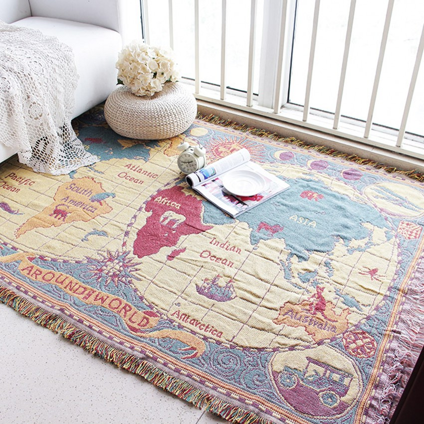 Double Sides Reversible World Map Pattern Cotton Blanket