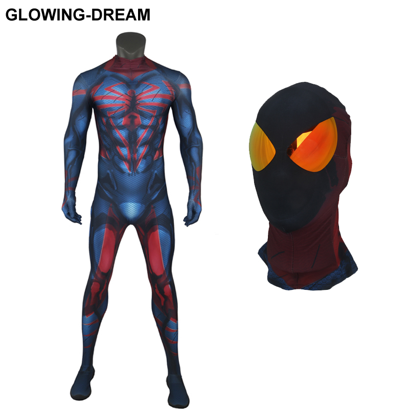 High Quality Muscle Shade Mirror Eyes Spider Man Unlimited Costume With U-zipper 3D Print Unlimited Spiderman Fullbody Suit
