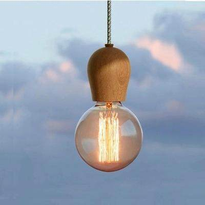 Online Shop Vintage pendant light Oak Wood lamp 100cm colored cable ...