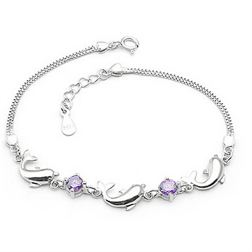 Sun Top Quality 925 Sterling Silver Bracelets Three Dolphin Two Purple  Crystal For Women